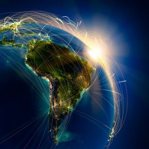 Main air routes in South America