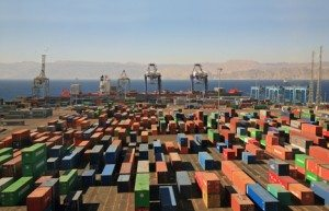 Containers in a cargo port