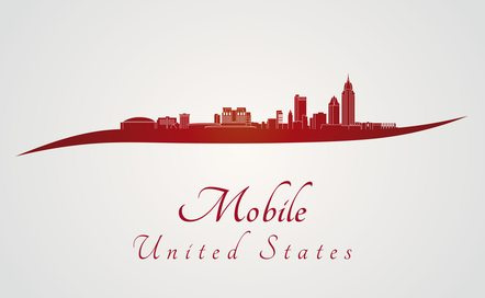 Mobile skyline in red