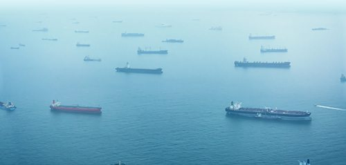 Aerial Shot of Commercial Ships at Anchor off Singapore