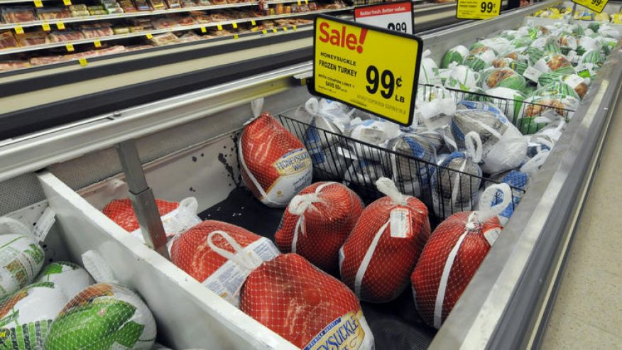 Frozen turkeys are likely to be much less expensive than fresh birds this Thanksgiving. (Associated Press)