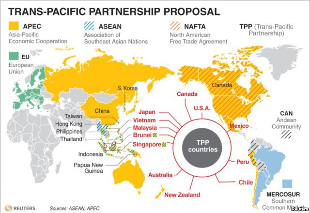 FILE - TPP Countries and Other Global Trade Agreements / Photo Source: VoA