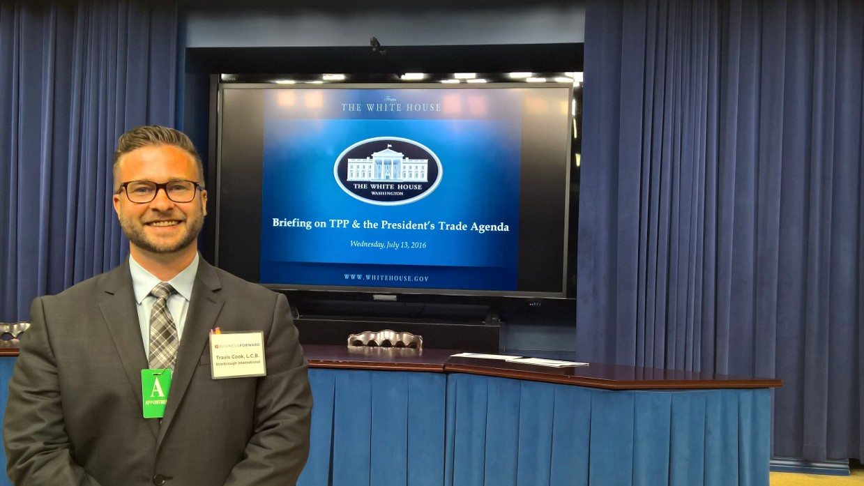 Travis Cook of Scarbrough International, Ltd. at the White House TPP Briefing on July 13, 2016
