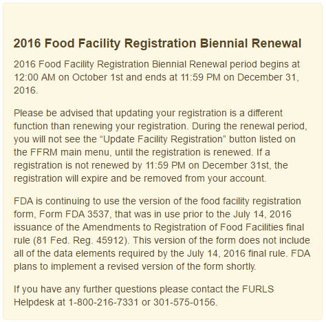 Food Facilities Must Re-Register with FDA Between Oct. 1 and Dec ...