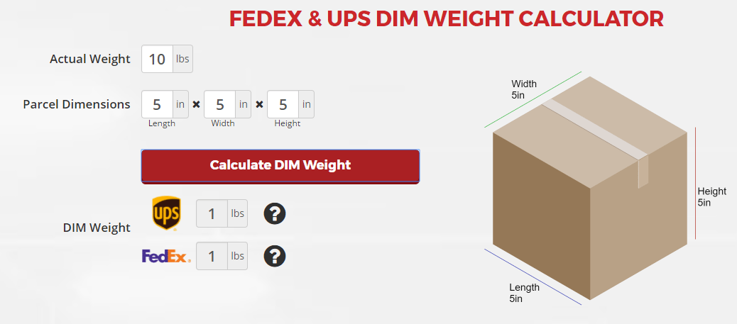 Dimensional Weight Calculator Scarbrough International