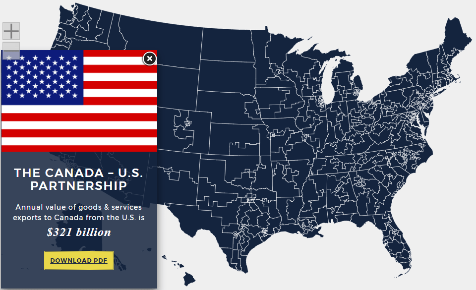 Check out this Interactive Map on US and Canada Trade