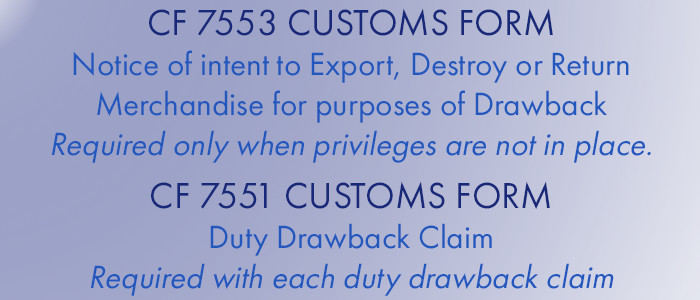 US Customs Duty Drawback Forms
