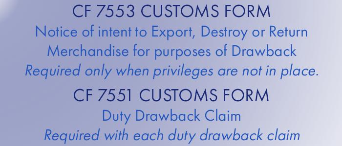 US Customs Duty Drawback Forms