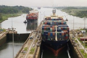 Cargo Ship in Panama Canal