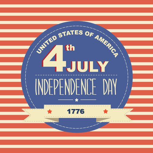 Poster 4 July Independence Day.Typography.
