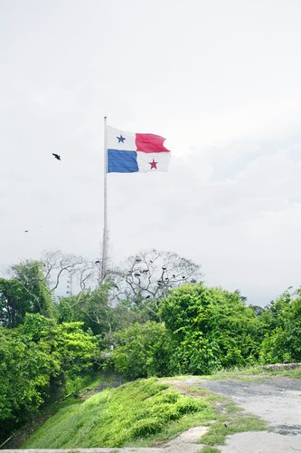 Panama Flag in the Ancon Hill.  Ancon Hill is a steep 654-foot h