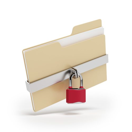 Confidential files. Padlock on folder