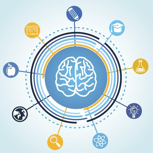 Vector education concept - brain and science icons