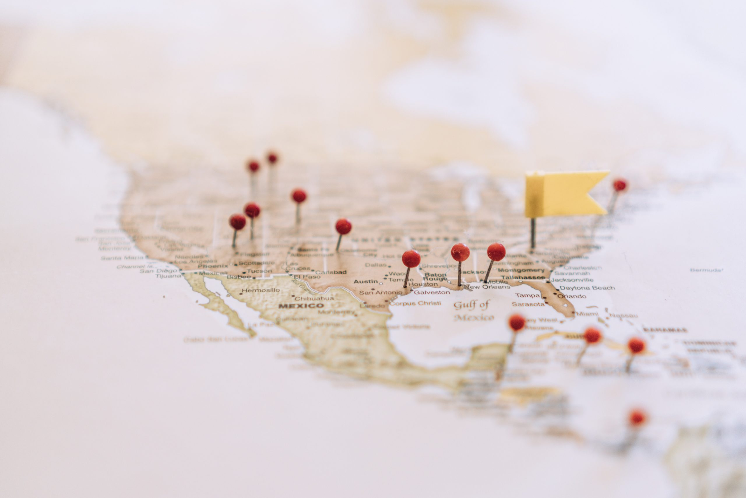 Map of United States with Pins